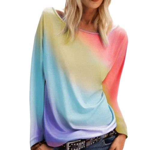 Rainbow Tie Dye Women T Shirt Long Sleeve Female Scoop Neck Casual Tee Loose T-shirts Ladies Girls Tshirt Harajuku Spring Tops