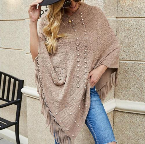 Tassel Design Beading Knitted Shawl Cloak Tops Women Casual Ponchos and Capes