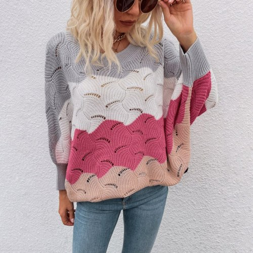 2021 Autumn And Winter Hollow Knit Sweater Bat Sleeve Sweater Women