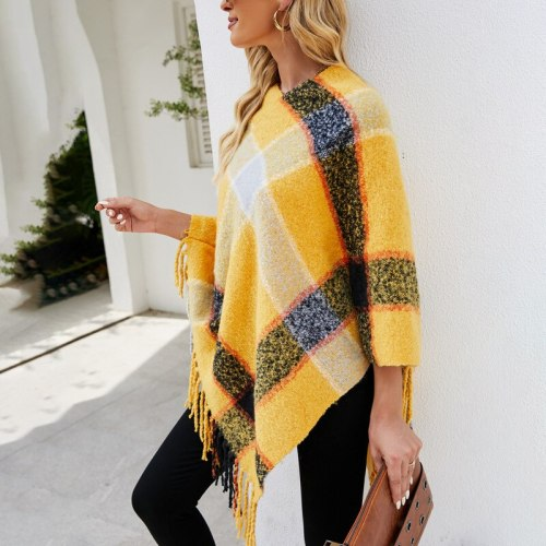 Poncho for Women 2021 Autumn Winter New Imitation Cashmere Striped Cloak Knitted Fringe Scarf Shawl Lady Pullover Sweater