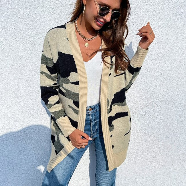 Women Autumn Sweater Camouflage Printed Patchwork V Neck Long Sleeve Long Loose Open Stitch Lady Tops One Piece Casual Fahshion