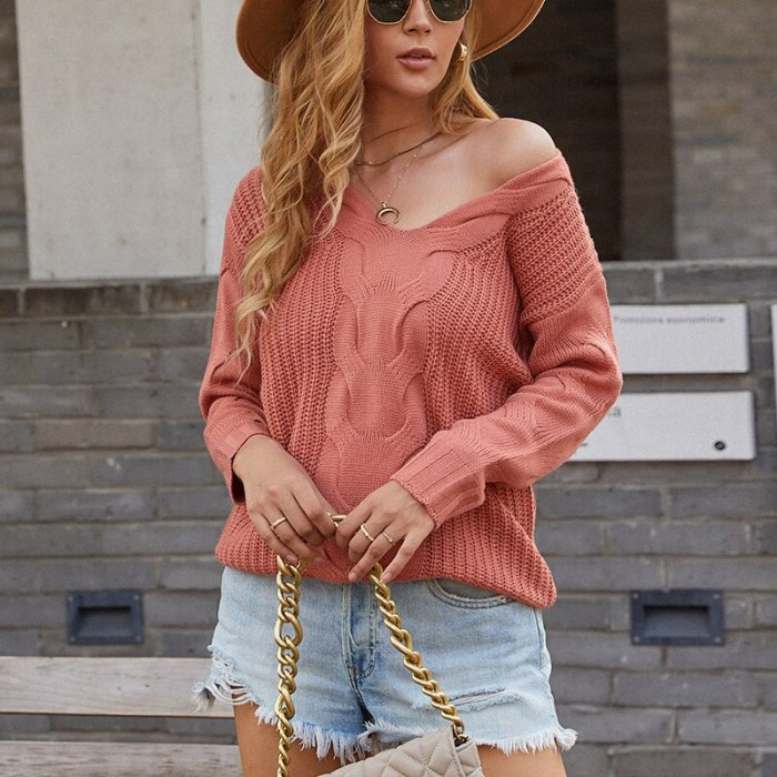 2021 Warm Sweater Female Pullovers Women V Neck Sweaters Knitted Jumpers Fashion Solid Color Twist Pullover Lady Tops Autumn