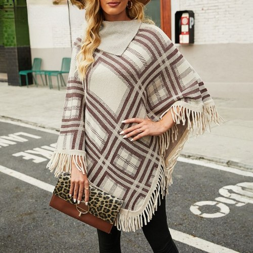 2021 Women New Autumn Winter Large Size Pullover Cloak Plaid Warm Ponchos and Capes High Quality Fashion Female Tippet Cappa