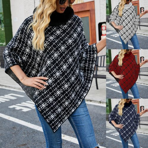 Womens Ponchos Irregular Turtleneck Sweaters Capes Autumn Winter New Knitted Cape Coat Ladies Casual Pullover Sweaters 2021