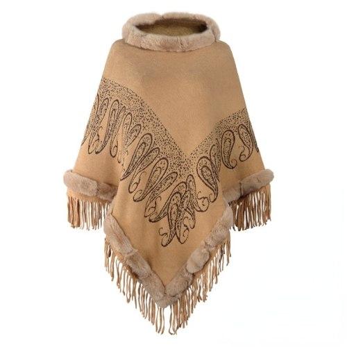 Women Winter Knitted Hooded Poncho 2021 New Cape Crochet Fringed Tassel Shawl Wrap Oversized Pullover Cloak Sweater