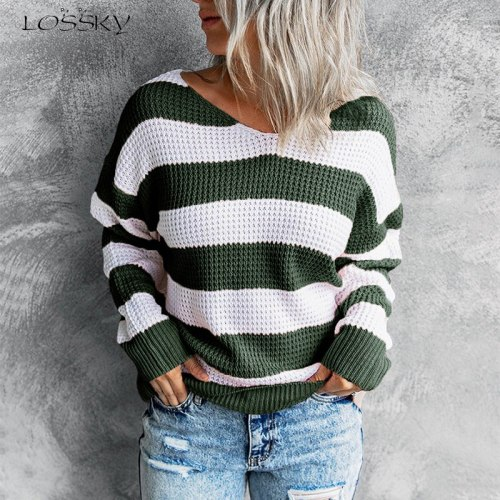 Fashion Striped V Neck Women Sweater Casual Loose Long Sleeve Pink Top Elegant Streetwear Pullover Knitted Sweaters Autumn 2021
