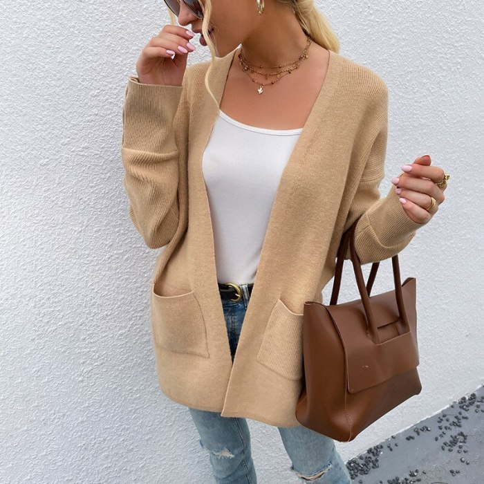 2021 autumn and winter new European and American sweater women pure color casual mid-length knitted cardigan