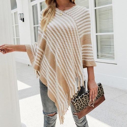 2021 new style shawl cloak sweater European and American cross-border striped fringed cloak jacket women