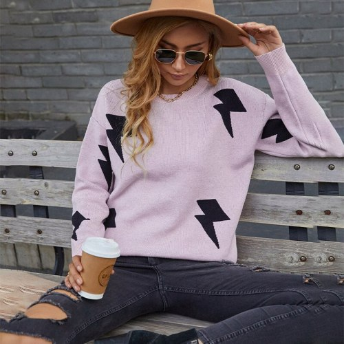 Autumn Women Sweater Pullovers Soft Warm O-Neck Loose Fine Yarn Lightning Printing Office Lady Knitted Sweater