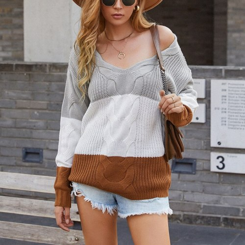 Fresh and Sweet Knitted Sweater Pullover Women 2021 Striped Contrast Sweater Female Twist V-neck Off-shoulder Pullover Jacket