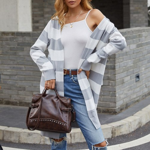 2021 autumn new product European and American knitted sweater long color contrast striped cardigan sweater women