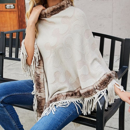 Women Clothing Sweater Autumn Winter 2021 New Knitwear Europe Cloak Tassel Shawl Fur Collars Coat Female