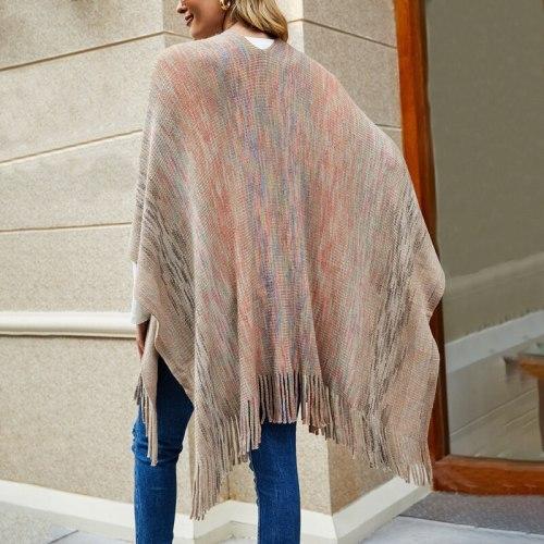 Women Long Poncho Sweater Shawl Tassel Coat Long Sleeve Knitted Sweater Cardigan One Size Fringe Loose Sweater 2021 Winter