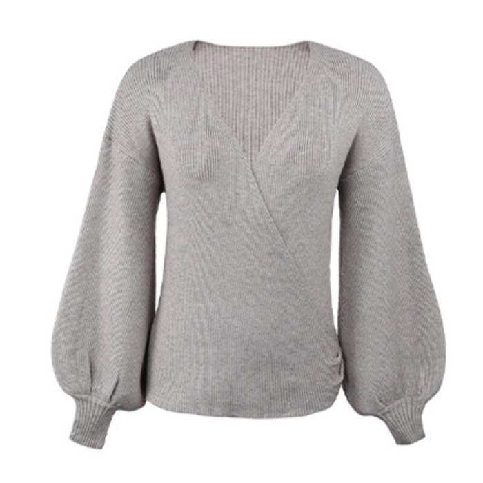 Autumn Winter Clothes Sweater Women 2021 New Fashion Cross V-Neck Lantern Sleeve Knitwear Pullovers Female Jumper Knitted Top