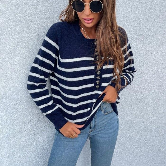Autumn Winter New Knitwear Women Single-breasted Stripe Pullover Top Women Sweater Fashion Button Cardigan Women Sweater