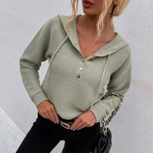 2021 Autumn and winter new ladies drawstring hooded sweater with buttons on chest