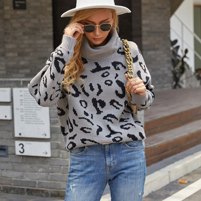 2021 Autumn Winter Turtleneck Knitted Sweaters Women Long Sleeve Leopard Thick Pullover Jumper Casual Loose Coat Tops
