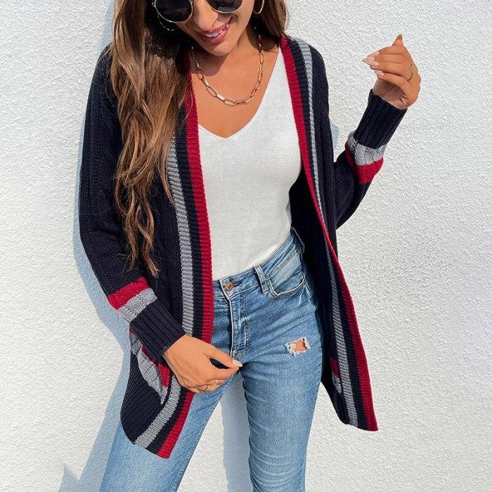 2021 autumn winter new women's sweater medium length striped pocket knit cardigan