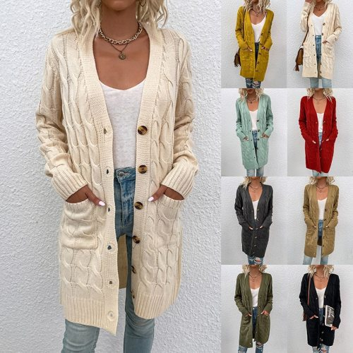 Knitwear woman sweater Cardigan elegant autumn winter 2021 long twist sweater coat button cardigan woman sweaters jacket vintage