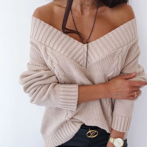 New Solid V-neck Women's Sweater Drop Shoulder Long Sleeve Knit Sweaters Female 2021 Autumn Winter Loose Fashion Lady Pullover