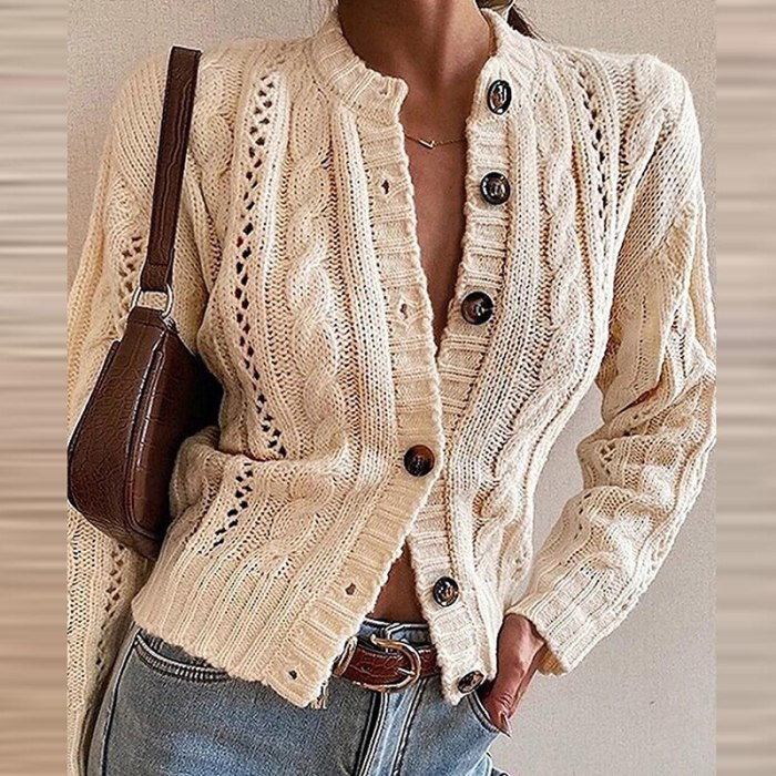 Women Sexy V Neck Buttons Cardigan Coats Winter Casual Hollow Out Solid Sweater Fashion Autumn Long Sleeves Slim Sweater