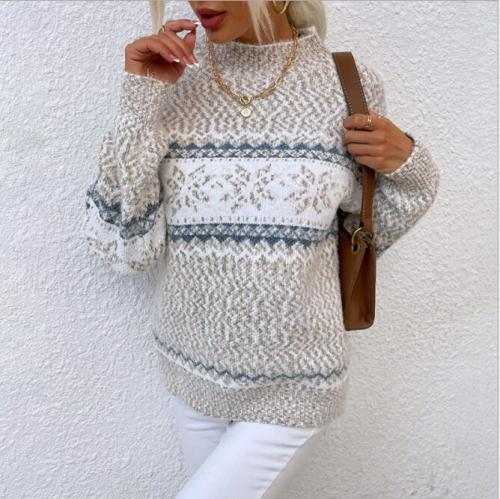 Women Vintage Sweater Knitted Jumper College Loose Winter Striped Jumper Pullovers Korean Knitwear Autumn Casual Tops Femme 2021
