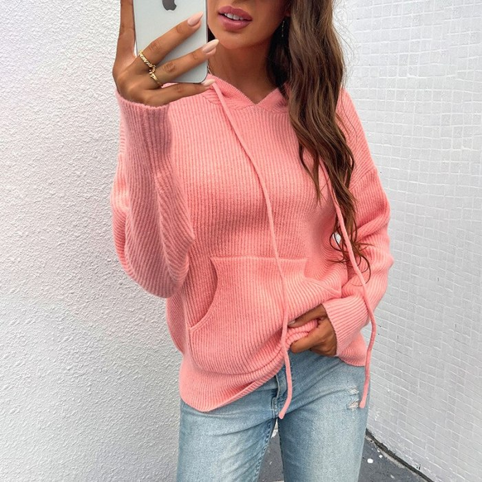 Autumn Women Patchwork Hooded Sweater Long Sleeve V-neck Knitted Sweater Casual Striped Pullover Jumpers 2021 New Female Hoodies