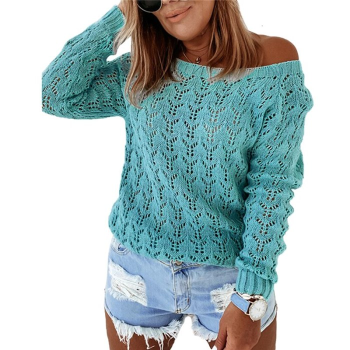 Women Pullover Sexy Hollow Out Casual Solid Color Classic Round Neck Sweater Tops Loose Autumn Spring Clothing