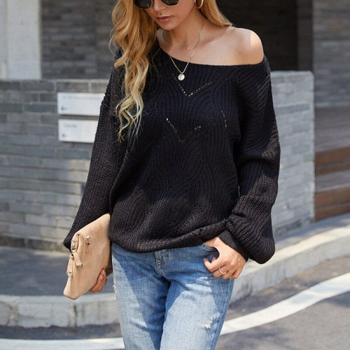 2021 autumn solid color hollow knit sweater new plus size European and American strapless sweater women