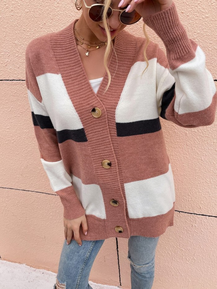 New Women Sweater Coat Autumn Winter V Neck Patchwork Mid-Long Style Cardigan Single-Breasted Loose Casual Knitted Striped Coat