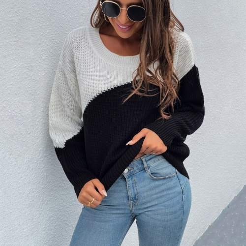 Black and Red Colors Warm Pullover Sweater Women Clothes for 2021 Autumn and Winter Contrast Stitching Color Pullover Sweater
