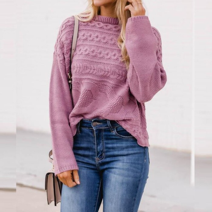Autumn Winter Stand Collar Twist Knit Sweaters Women Elegant Fashion Solid Color Tops Pullover Female Casual Loose Streetwears