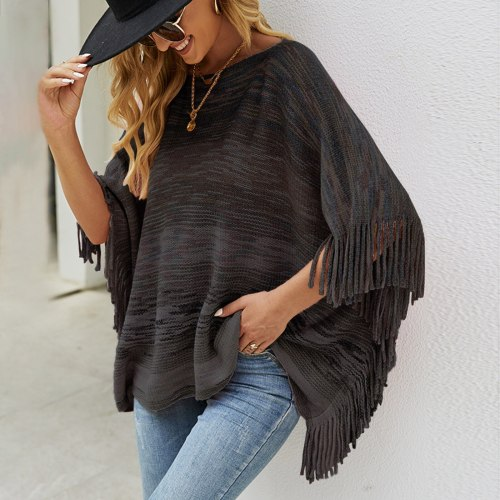 Elegant Tassel Sweater Poncho Women Irregular O Neck Knitted Pullover Shawls Wraps Capes With Stripe Patterns And Fringed Sides
