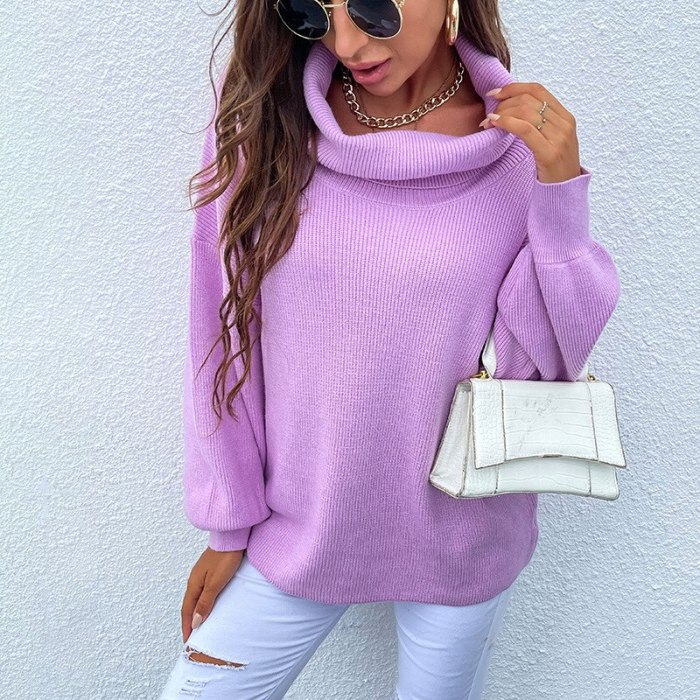 2021 Autumn Winter Women Thick Turtleneck Sweater Oversize Warm Pullovers Sweaters Lantern Sleeve Women's Cashmere Loose Jumper