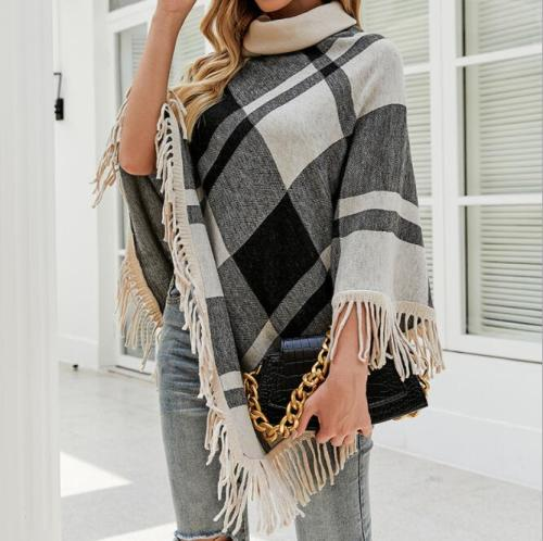 Boho Chic Shawl Women Turtleneck Sweater Knit Plaid Pullover Scarf Wrap Poncho Tassel High Neck Winter Lady Outfit Accessories