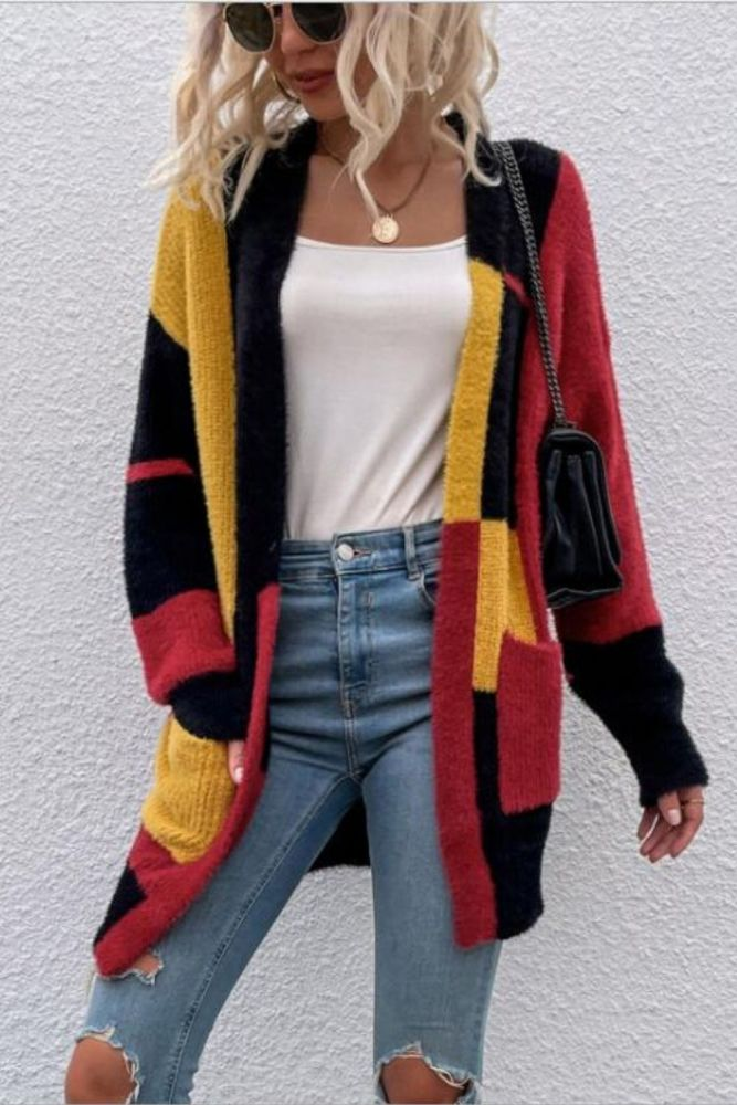 Ladies Irregular Color Block Sweater Cardigan 2021 Fall/Winter New Long Sleeve Knitted Oversized Jacket Casual Warm Cardigan