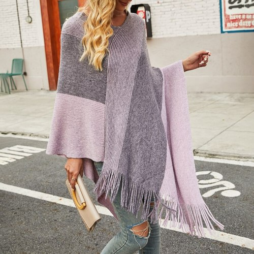 2021 autumn and winter new products fashion European and American women's contrast color cloak shawl sweater coat cloaks women