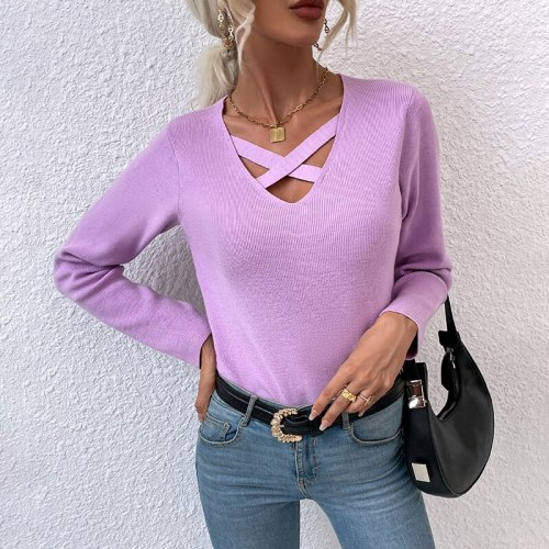 New Arrival 2021 Autumn Winter Pullover Women Solid Color V-Neck Cross Hollow Out Sweaters Female Sexy Knitted Tops Fall Clothes