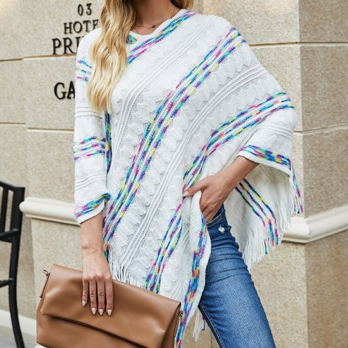 2021 autumn and winter Europe and the United States loose plus size sweater rainbow striped scarf fringed cloak shawl women