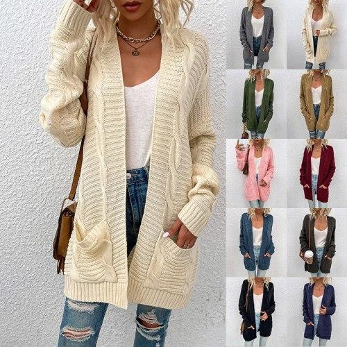 2021 Cardigan Sweater Cloak New Autumn and Winter Women's Clothing Twisted Rope Urban Elegant Pockets Wholesale Item Cape Coat