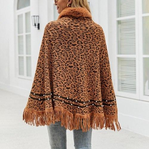Leopard Print Fur Collar Coat Tassel Knitted Shawl Women Vintage Soft Warm Capes & Ponchos