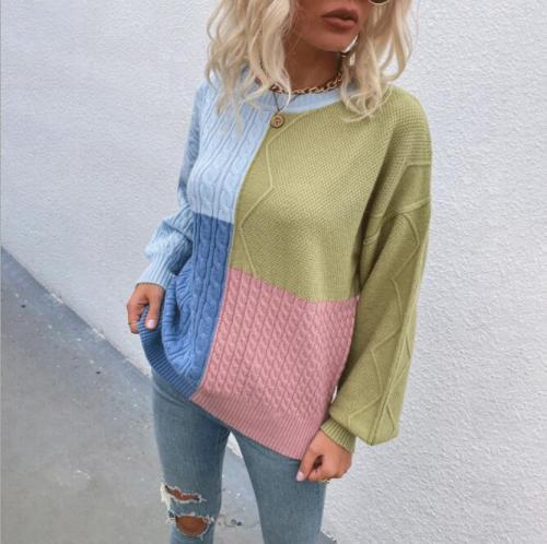 Women Clothing Sweater Autumn Winter 2021 New Knitwear Female Lantern Sleeve O Neck Contrast Color Twist Knit Pullovers