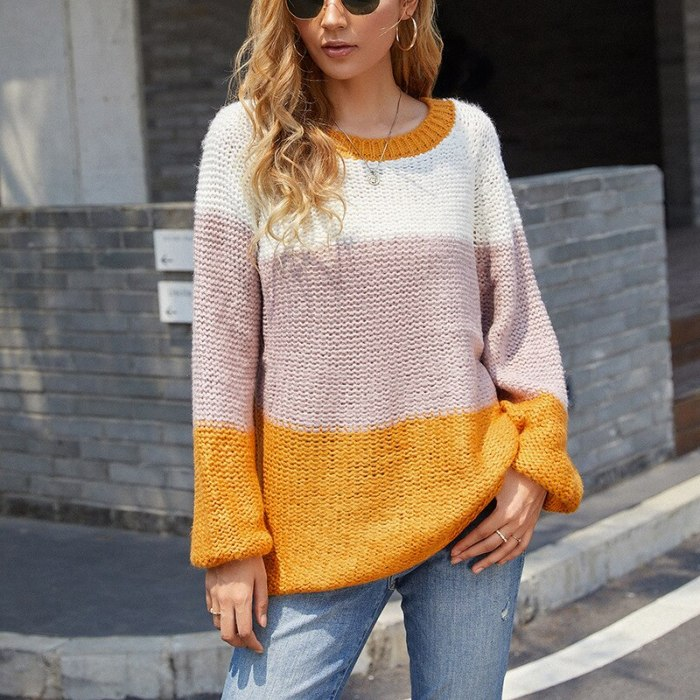 Autumn and winter thick mohair sweater women 2021 new striped stitching contrast color sweater