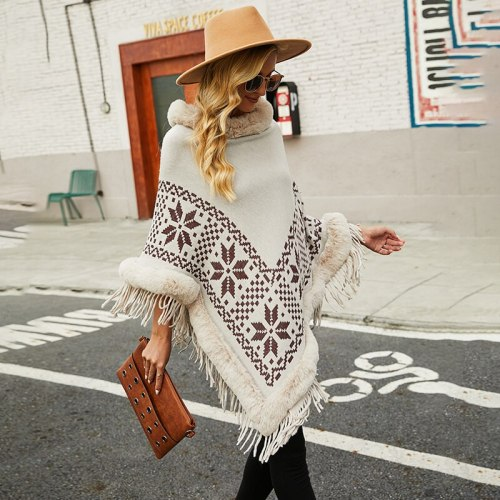 Fashion Tassel Pearls Cloak Shawl Sweater Oversized Ponchos Pullover Knitwear Women 2021 Autumn Winter New Fur Collar Patchwork