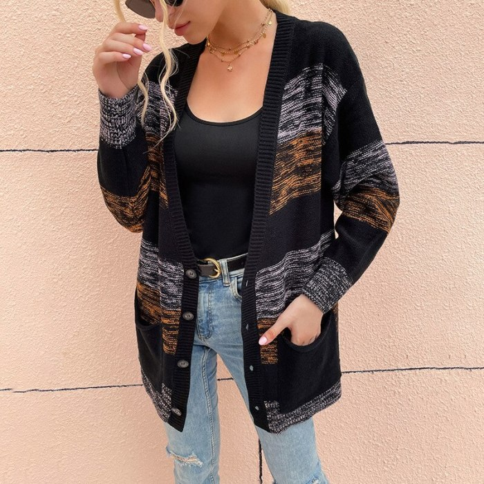 Women's Autumn And Winter Knitted Sweater Hit Color Single-breasted Loose Casual Knitted Cardigan Sweater