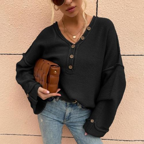 Square Armhole Button V-neck Sweater Women Long Sleeve Loose Pullovers Women's