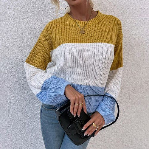 Fall/Winter New Women's Fashion 2021 Europe and America Contrasting Color Knit Sweater Lantern Sleeve Pullover cropped sweater