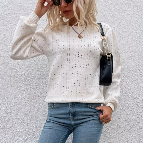 Cross-border bottoming shirt 2021 new sweater autumn and winter solid color lantern sleeve hollow sweater women