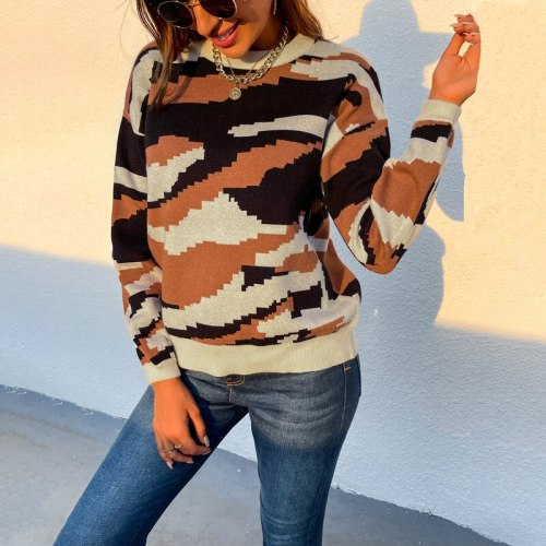 Top women sweater pullover 2021 autumn new loose round neck full sleeve warm outwear elegant fashion casual camouflage sweater