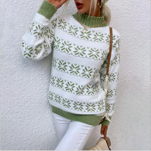2021 new  autumn winter  women's  jacquard thick sweater lazy pullover knitted top